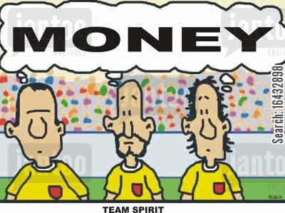 pay cheques cartoon humor: Team Spirit.