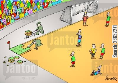 football pitch cartoon humor: Football.