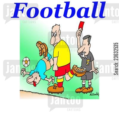 match cartoon humor: Football.