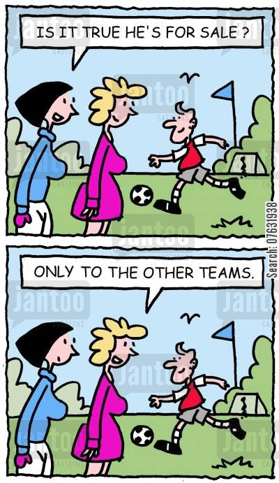 hunky footballers cartoon humor: Is it true he's for sale? Only to the other teams.