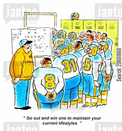 lifestyle cartoon humor: 'Go out and win one to maintain you current lifestyles.'