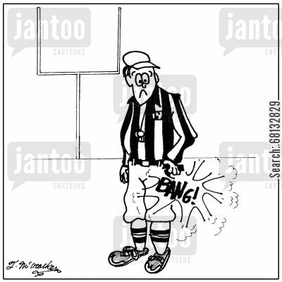football referee cartoon humor: A football referee accidentally shoots his starting pistol in his pocket.