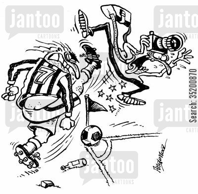 kicked cartoon humor: Footballer kicking a photographer on a corner.