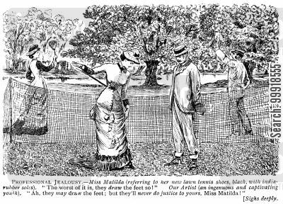 lawn tennis cartoon humor: Lady showing her new tennis shoes.