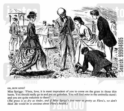 park cartoon humor: Victorians playing croquet.