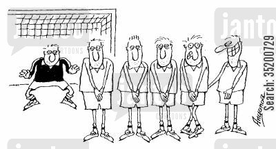 penalty cartoon humor: Footballer holding team mates bum while preparing for a penalty shoot out