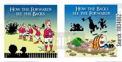 rugby games cartoon humor: How the Forwards See the Backs and How the Backs See the Forwards