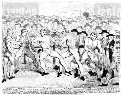georgians cartoon humor: 'Gentleman' John Jackson's Victory over Thomas Fewtrell