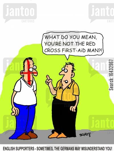 england flags cartoon humor: English supporters - Sometimes, the Germans may misunderstand you!