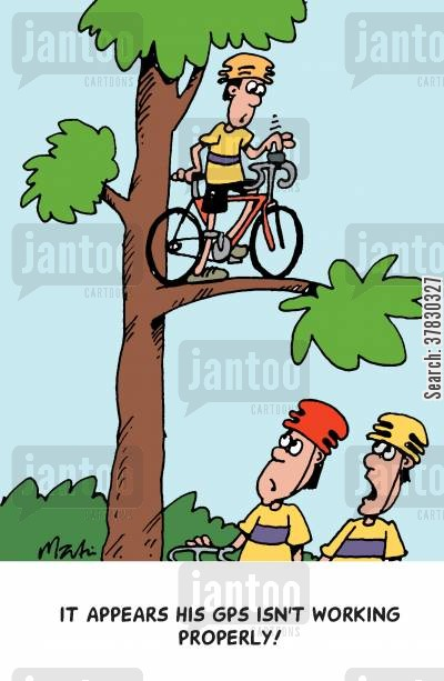 cycling cartoon humor: It appears his GPS isn't working properly.