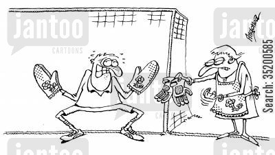 oven gloves cartoon humor: Goalie in trouble with his wife as he is using her oven gloves in goal