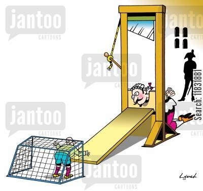 goalkeepers cartoon humor: Guillotine Goalie.