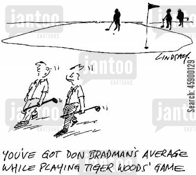 cricket games cartoon humor: 'You've got Don Bradman's average while playing Tiger Woods' game.'