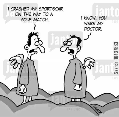 sportscars cartoon humor: 'I crashed my sportscar on the way to a Golf match.'