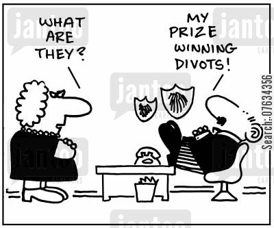 divots cartoon humor: 'What are they?' 'My prize winning divots!'
