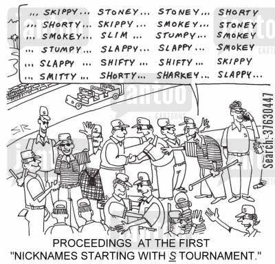 nicknames cartoon humor: Proceedings at the First 'Nicknames Starting with S Tournament,'