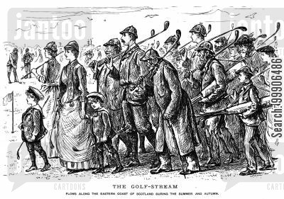 golf caddies cartoon humor: A group of golfers awaiting their turn.