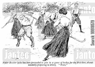 absent minded cartoon humor: Major Bunker (who has been persuaded to join in a game of hockey for the first time, absent-mindedly preparing to drive). 'Force.'