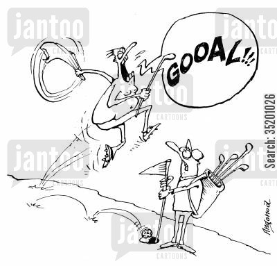 soccer fan cartoon humor: Football fan playing golf.
