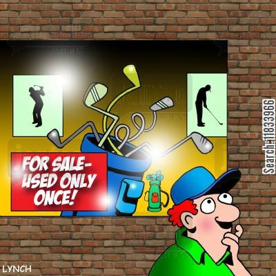 second hand golf clubs cartoon humor: Only used once