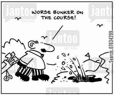 golf matches cartoon humor: Worse bunker on the course!