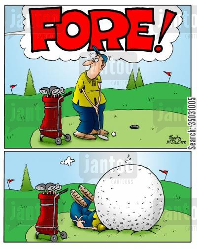 tricky shot cartoon humor: A man crushed by a giant golf ball.