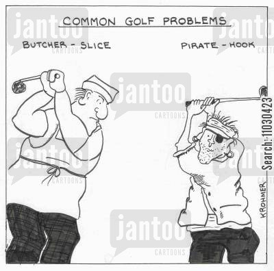 golf swings cartoon humor: Common golf problems. Butcher - slice, Pirate - hook.