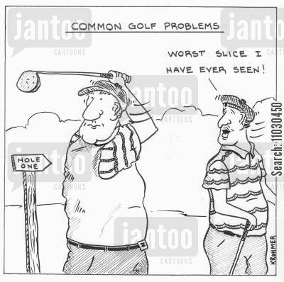 golf cart cartoon humor: Common golf Problems: 'Worst slice I have ever seen!'