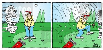 fore cartoon humor: Man pelted with golf balls.