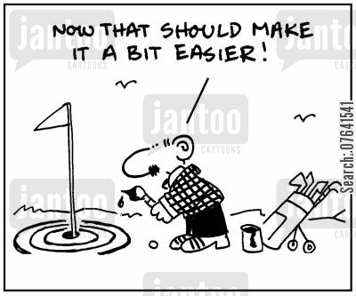 golf instructor cartoon humor: 'Now that should make it a bit easier.'