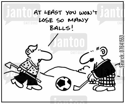 golf instructor cartoon humor: 'At least you won't lose so many balls.'