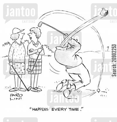 decaptiate cartoon humor: 'Happens every time.'