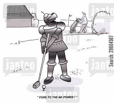 fore cartoon humor: 'Fore to the 9th power!'
