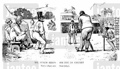 professional cricket cartoon humor: Mr. Punch Keeps His Eye On Cricket