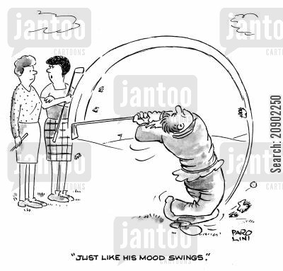 mood swing cartoon humor: 'Just like his mood swings.'