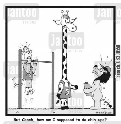 training programs cartoon humor: But Coach, how am I supposed to do chin-ups?