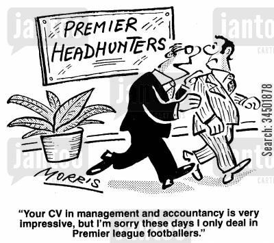 footballing cartoon humor: ...I'm sorry these days I only deal in Premier League footballers.