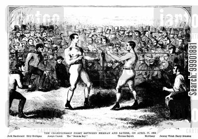 championship fight cartoon humor: The Championship Fight Between Heenan and Sayers, on April 17, 1860