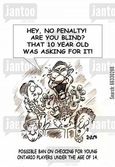 team sport cartoon humor: Hey, no penalty! Are you blind? That 10 year old was asking for it!