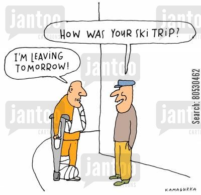 skiers cartoon humor: 'How was your ski trip?'