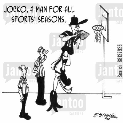 refereeing cartoon humor: Jocko, a man for all sports' seasons.
