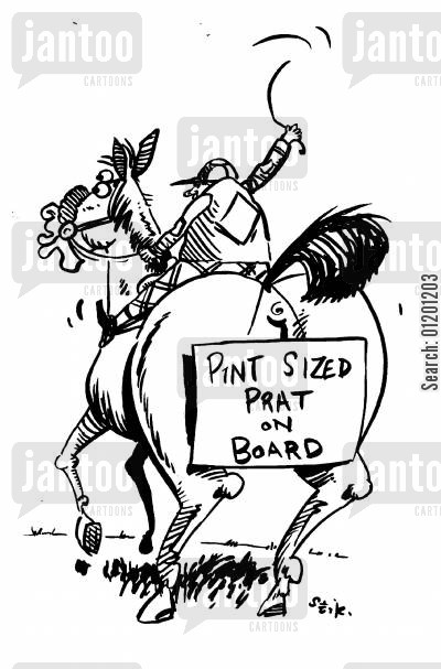 brat cartoon humor: 'Pint sized prat on board'