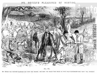 fox hunt cartoon humor: Mr Briggs's Pleasures of Hunting - No IX
