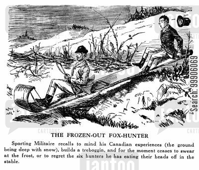 fox-hunting cartoon humor: The Frozen Out Fox Hunter (Tobogganing)