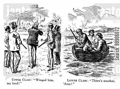 pigeon shooting cartoon humor: UpperLower Class Pastimes