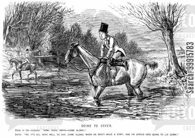fox hunt cartoon humor: Huntsmen riding through a river