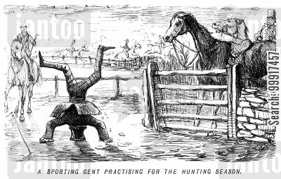 tumble cartoon humor: A sporting gent practising for the hunting season.