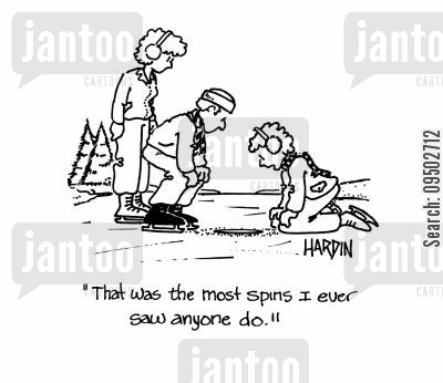 icey cartoon humor: 'That was the most spins I ever saw anyone do!'