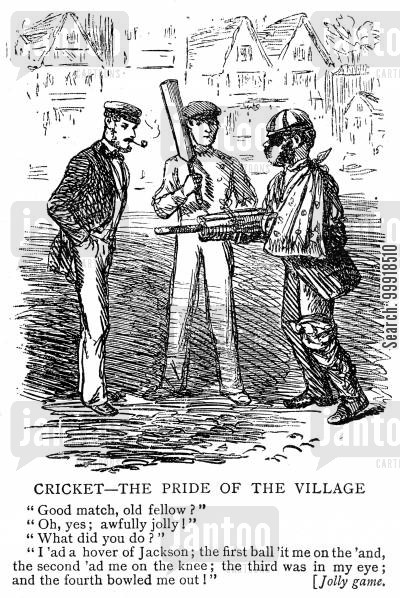 cricketers cartoon humor: Cricketer battered after facing an over from a fast bowler.