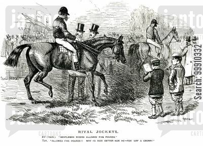 gentleman jockey cartoon humor: Rival Jockeys